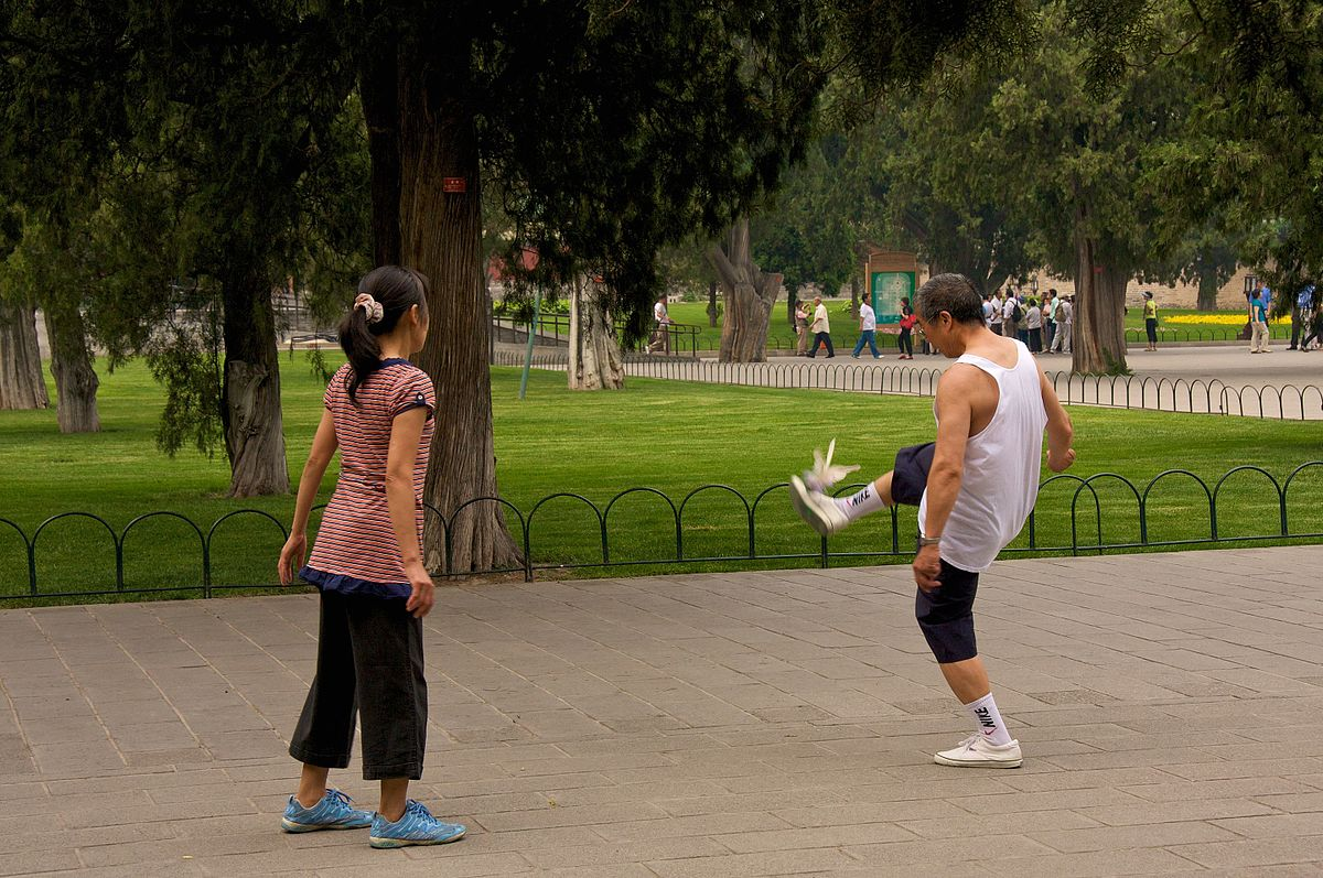 Chinese people playing in parks
